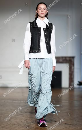 Stock Picture of Models present creations from the Women Spring/Summer 2020 collection by French designer Pierre Kaczmarek and Italian designer Elena Mottola for Afterhomework during the Paris Fashion Week, in Paris, France, 24 September 2019. The presentation of the Women's collections runs from 23 September to 01 October.