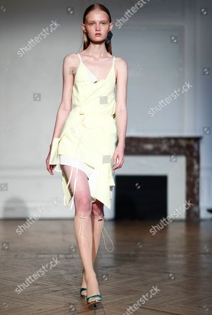 Stock Image of Models present creations from the Women Spring/Summer 2020 collection by French designer Pierre Kaczmarek and Italian designer Elena Mottola for Afterhomework during the Paris Fashion Week, in Paris, France, 24 September 2019. The presentation of the Women's collections runs from 23 September to 01 October.