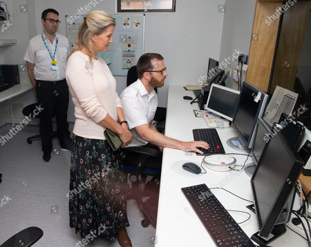 Sophie Countess of Wessex visits the new MRI Scanner to see it in action at Musgrove Park Hospital