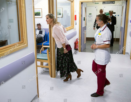 Sophie Countess of Wessex looks in on some wards at Musgrove Park Hospital as she unveils the new MRI Scanner