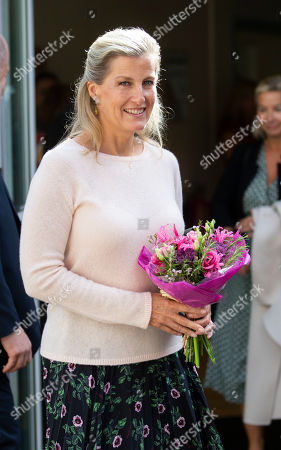 Sophie Countess of Wessex departs the hospital after unveiling the new MRI Scanner