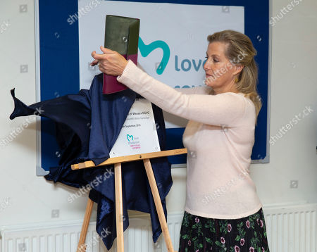 Sophie Countess of Wessex unveils the new MRI Scanner during her visit at Musgrove Park Hospital