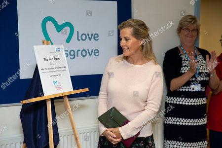 Sophie Countess of Wessex unveiling the new MRI Scanner during her visit at Musgrove Park Hospital