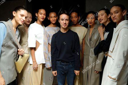 Gabriele Colangelo, designer and models backstage