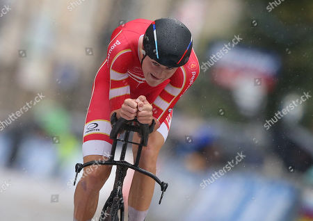 Mathias Norsgaard Jorgensen of Denmark competes in the Men Under 23 Individual Time Trial during the UCI Road Cycling World Championships in Harrogate, Britain, 24 September 2019.