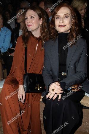 Julianne Moore, Isabelle Huppert. Julianne Moore and Isabelle Huppert pose for photographers ahead of the Dior Ready To wear Spring-Summer 2020 collection, unveiled during the fashion week, in Paris