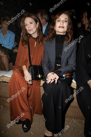 Stock Photo of Julianne Moore, Isabelle Huppert. Julianne Moore and Isabelle Huppert pose for photographers ahead of the Dior Ready To wear Spring-Summer 2020 collection, unveiled during the fashion week, in Paris