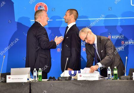 UEFA president Aleksander Ceferin (C), UEFA competitions director Giorgio Marchetti (R) and Karl-Erik Nilsson, Swedish Football Association (SvFF) president and UEFA first vice-president, at the start of the UEFA Executive Committee meeting in Ljubljana, Slovenia, 24 September 2019.