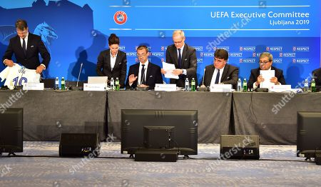 UEFA president Aleksander Ceferin (C), UEFA competitions director Giorgio Marchetti (3R), and UEFA secretary general Theodore Theodoridis (2R), at the start of the UEFA Executive Committee meeting in Ljubljana, Slovenia, 24 September 2019.