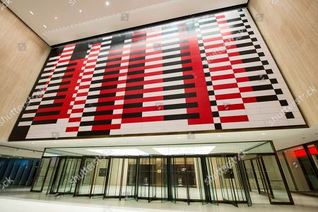 """IMAGE DISTRIBUTED FOR TISHMAN SPEYER- A reproduction of Josef Albers' """"Manhattan"""" mural at 200 Park Avenue (MetLife Building). Nearly 20 years since the original mural's removal, real estate companies Tishman Speyer and Irvine Company brought back the iconic mid-century mural to the building with help from the Josef and Anni Albers Foundation and the artist's original plans"""
