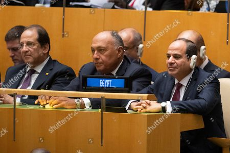 Egyptian President Abdel Fattah el-Sisi, right, attends the 74th session of the United Nations General Assembly at U.N. headquarters