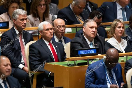 Donald Trump, Mike Pence, Wilbur Ross, Mike Pompeo, Heather Nauert. U.S. Vice President Mike Pence, left, Commerce Secretary Wilbur Ross, second from left, Secretary of State Mike Pompeo, second from right and Ambassador to the United Nations Heather Nauert listen as President Donald Trump addresses the 74th session of the United Nations General Assembly at U.N. headquarters