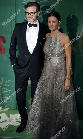 Colin Firth and Livia Firth upon their arrival at the Green Carpet Fashion Awards in Milan, Italy