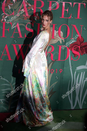 Stock Image of Eva Riccobono upon her arrival at the Green Carpet Fashion Awards in Milan, Italy