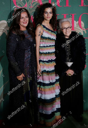 From left, Angela Missoni, Chiara Scelsi and Rosita Missoni upon their arrival at the Green Carpet Fashion Awards in Milan, Italy