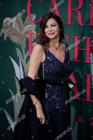 Stock Image of Katia Noventa upon her arrival at the Green Carpet Fashion Awards in Milan, Italy