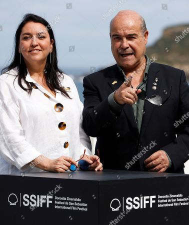 Antonio Resines (R) and Ana Perez-Lorente (L) pose during the presentation of their project 'Stories of our cinema' in the section 'Made in Spain' within the 67th San Sebastian International Film Festival (SSIFF), in San Sebastian, Spain, 24 September 2019.