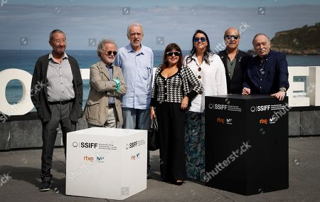 Stock Photo of Antonio Resines (2-R), Ana Perez-Lorente (3-R), Fernando Colomo (2-L), Fernando Mendez Leite (R) and Fernando Trueba (3-L) pose with actress Loles Leon (C) and film critic Carlos Boyero (L) as they present their project 'Stories of our cinema' in the section 'Made in Spain' within the 67th San Sebastian International Film Festival (SSIFF), in San Sebastian, Spain, 24 September 2019.