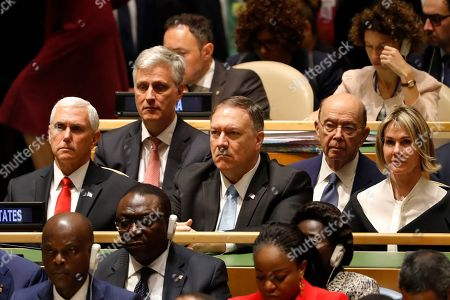 Kelly Craft, Wilbur Ross, Mike Pompeo, Robert O'Brian, Mike Pence. Members of the United States delegation listen as President Donald Trump addresses the 74th session of the United Nations General Assembly at U.N. headquarters . From right to left, U.S. Ambassador to the U.N. Kelly Craft, U.S. Secretary of Commerce Wilbur Ross, U.S. Secretary of State Mike Pompeo, National Security Advisor Robert O'Brien and Vice-President Mike Pence
