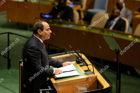 Abdel Fattah Al Sisi. Egyptian President Abdel Fattah el-Sisi addresses the 74th session of the United Nations General Assembly at U.N. headquarters