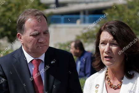 Stefan Lofven, Ann Linde. Swedish Prime Minister Stefan Lofven and Foreign Minister Ann Linde speak to reporters during the 74th session of the United Nations General Assembly at U.N. headquarters