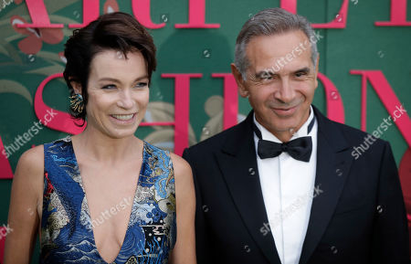 Stock Image of Carlo Capasa and Stefania Rocca pose upon arrival at the Green Carpet Fashion Awards in Milan, Italy