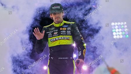 Ryan Blaney greets fans during driver introductions for the NASCAR Monster Energy Cup series auto race at Richmond Raceway in Richmond, Va