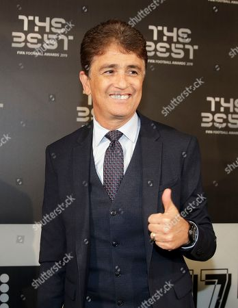 Former soccer player Bebeto arrives to attend the Best FIFA soccer awards, in Milan's La Scala theater, northern Italy, . Netherlands defender Virgil van Dijk is up against five-time winners Cristiano Ronaldo and Lionel Messi for the FIFA best player award and United States forward Megan Rapinoe is the favorite for the women's award