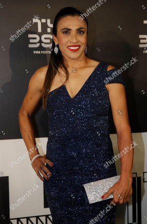 Marta Vieira da Silva arrives to attend the Best FIFA soccer awards, in Milan's La Scala theater, northern Italy, . Netherlands defender Virgil van Dijk is up against five-time winners Cristiano Ronaldo and Lionel Messi for the FIFA best player award and United States forward Megan Rapinoe is the favorite for the women's award