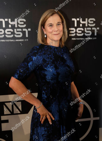 Jill Ellis arrives to attend the Best FIFA soccer awards, in Milan's La Scala theater, northern Italy, . Netherlands defender Virgil van Dijk is up against five-time winners Cristiano Ronaldo and Lionel Messi for the FIFA best player award and United States forward Megan Rapinoe is the favorite for the women's award