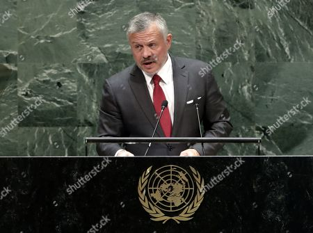 King Abdullah II of Jordan speaks to the general debate of the 74th session of the General Assembly of the United Nations at United Nations Headquarters in New York, New York, USA, 24 September 2019. The annual meeting of world leaders at the United Nations runs until 30 September 2019.