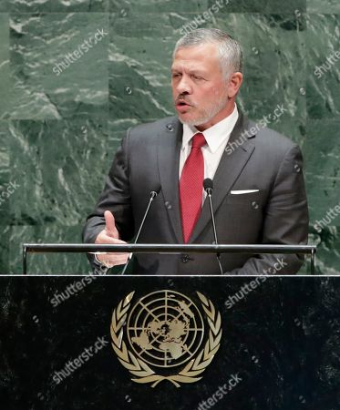 The King of Jordan Abdullah II bin Al- Hussein speaks to the general debate of the 74th session of the General Assembly of the United Nations at United Nations Headquarters in New York, New York, USA, 24 September 2019. The annual meeting of world leaders at the United Nations runs until 30 September 2019.