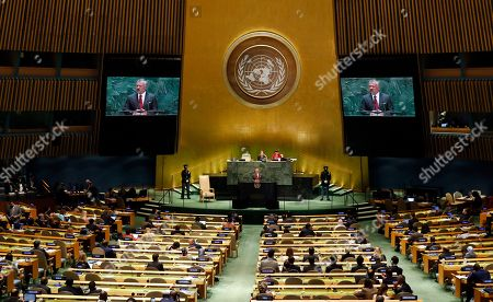 Stock Image of The King of Jordan Abdullah II bin Al- Hussein speaks to the general debate of the 74th session of the General Assembly of the United Nations at United Nations Headquarters in New York, New York, USA, 24 September 2019. The annual meeting of world leaders at the United Nations runs until 30 September 2019.