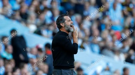 Stock Photo of Watford's head coach Quique Sanchez Flores shouts during the English Premier League soccer match between Manchester City and Watford at Etihad stadium in Manchester, England