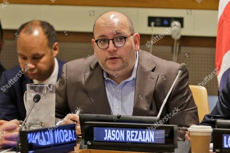 Journalist Jason Rezaian participates in a panel discussion on media freedom at United Nations headquarters
