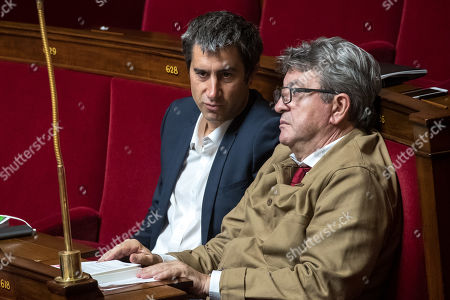 French Members of Parliament for La France Insoumise (France Unbowed), Jean-Luc Melenchon (R) and Francois Ruffin (L) speak during the weekly session of the Questions to the Government at the National Assembly in Paris, France, 24 September 2019.