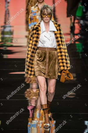 Stock Picture of Edie Campbell on the catwalk