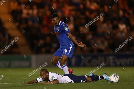 Brandon Comley of Colchester United fouls Lucas Moura of Tottenham Hotspur - Colchester United v Tottenham Hotspur, Carabao Cup, Round Three, JobServe Community Stadium, Colchester, UK - 24th September 2019