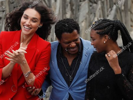 Actors Bukassa Kabengele (C), Debora Nascimento (L) and Cassia Nascimento (R) pose during the presentation of 'Pacified' at the 67th San Sebastian International Film Festival (SSIFF), in San Sebastian, Spain, 24 September 2019. The festival runs from 20 to 28 September.