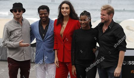 Film director Paxton Winters (R) and actors Bukassa Kabengele (2-L), Debora Nascimento (3-L), and Cassia Nascimento (2-R) and producer Darren Aronofsky (L) pose during the presentation of 'Pacified' at the 67th San Sebastian International Film Festival (SSIFF), in San Sebastian, Spain, 24 September 2019. The festival runs from 20 to 28 September.