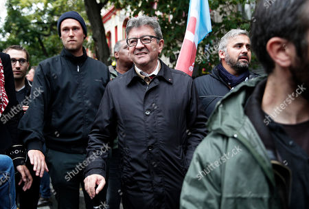 Leader of the far-left La France Insoumise (eng: The France Unbowed) party Jean-Luc Melenchon (C) takes part in a demonstration organized by trade unions against the pension reform by French government in Paris, France, 24 September 2019.