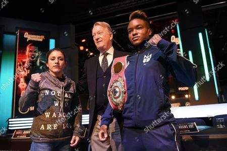 Nicola Adams (R) and Maria Salinas during a Press Conference at the BT Studios on 24th September 2019