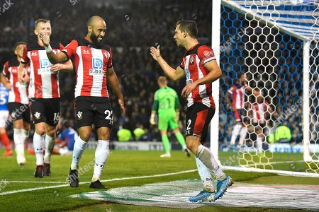 Cedric Soares of Southampton right celebrates scoring the third goal with Ryan Bertrand of Southampton during Portsmouth vs Southampton, Caraboa Cup Football at Fratton Park on 24th September 2019
