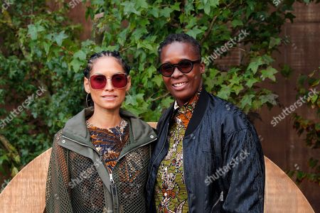 Stock Picture of Racquel Chevremont, left, and Mickalene Thomas pose during a photocall before Dior's Ready To Wear Spring-Summer 2020 collection, unveiled during the fashion week, in Paris