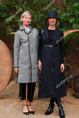 Elizabeth Von Guttman, left, and Alexia Niedzelski pose during a photocall before Dior's Ready To Wear Spring-Summer 2020 collection, unveiled during the fashion week, in Paris
