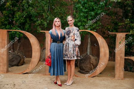 Stock Picture of Valentina Ferragni, left, and Chiara Ferragni pose during a photocall before Dior's Ready To Wear Spring-Summer 2020 collection, unveiled during the fashion week, in Paris