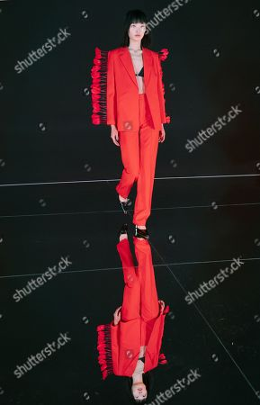 A model presents a creation from the Spring/Summer 2020 Ready to Wear collection by Chinese designer by Chinese designer Calvin Luo during the Paris Fashion Week, in Paris, France, 24 September 2019. The presentation of the Women's collections runs from 23 September to 01 October 2019.