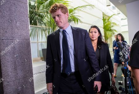 Rep. Joe Kennedy III, D-Mass., leaves a meeting with the Democratic Caucus where Speaker of the House Nancy Pelosi, D-Calif., decided to launch a formal impeachment inquiry against President Donald Trump, at the Capitol in Washington
