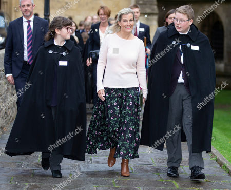 Sophie Countess of Wessex walks with choristers through Vicars Close to Wells Cathedral.