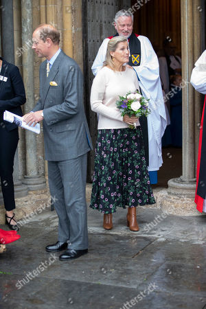 Sophie Countess of Wessex leaves Wells Cathedral after Evening Song.